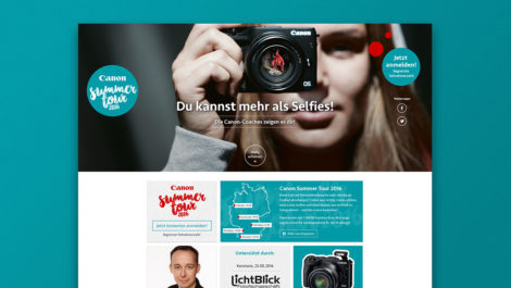 Screenshot der Canon Summertour Webseite